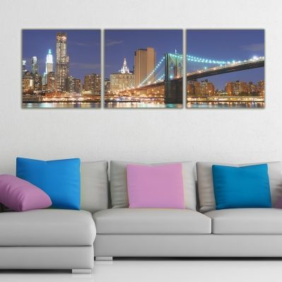0029 Wall art decoration (set of 3 pieces) New York in the night