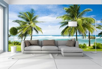 T0661 Wallpaper Beautiful beach with palms