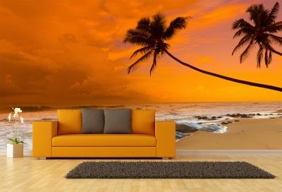 T0679 Wallpaper Sea sunset with palms