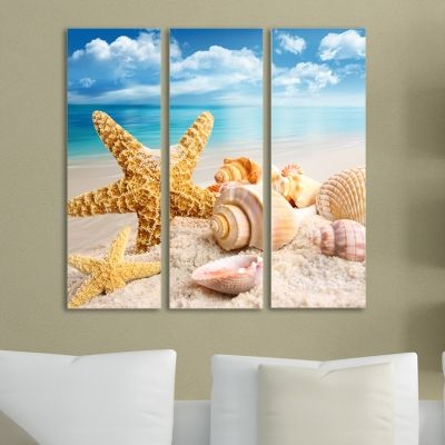 0043 Wall art decoration (set of 3 pieces) Sea creatures