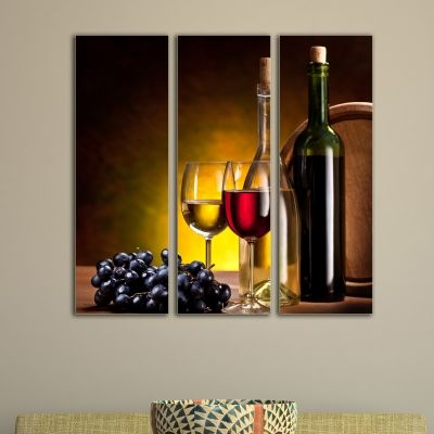 0065 Wall art decoration (set of 3 pieces)  Wine
