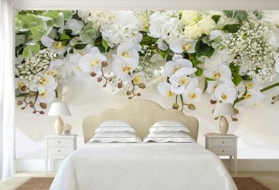 T0663 Wallpaper White orchids