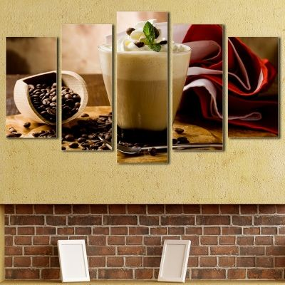 0051 Wall art decoration (set of 5 pieces) Fragrant cappuccino