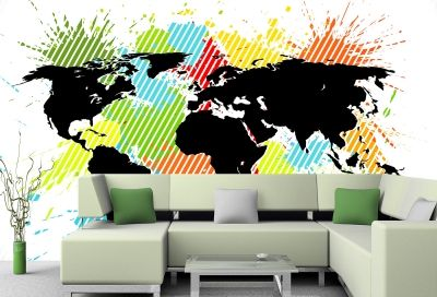 T0729 Wallpaper Abstract color map of the world