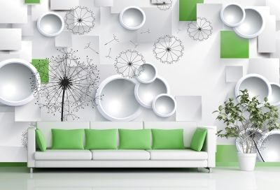 T9003 Wallpaper 3D Dandelions - white and green