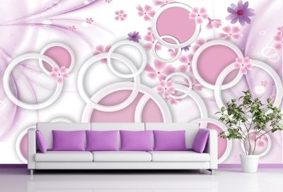 T9005 Wallpaper 3D Abstract flowers and circles