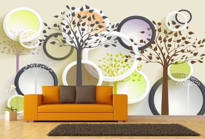 T9009 Wallpaper 3D Abstract trees and circles