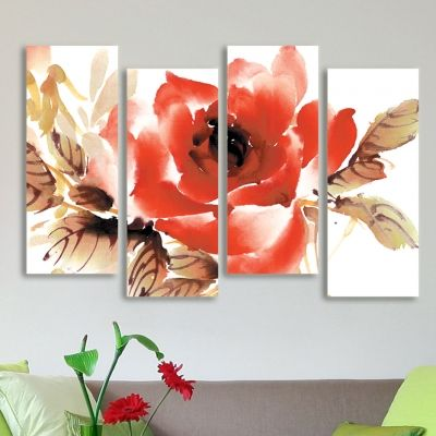 0101 Wall art decoration (set of 4 pieces)  Stylish rose