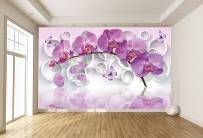 T9013 Wallpaper 3D Purple orchids