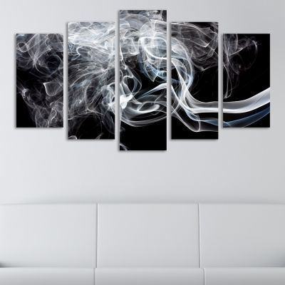 Abstract wall panels in black and white