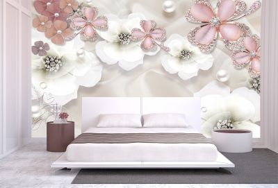 T9023 Wallpaper 3D Composition with flowers and jewelry