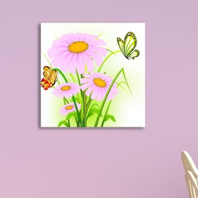 0077 Wall art decoration for kids Flowers and Butterflies