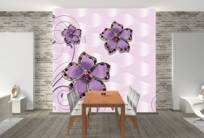 T9027 Wallpaper 3D Abstract flowers