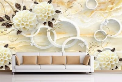 T9028 Wallpaper 3D Circles and vintage flowers