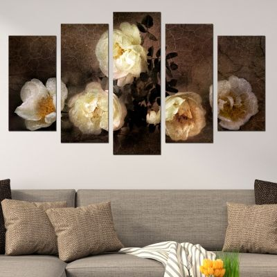 0009 Wall art decoration (set of 5 pieces)  Wild roses