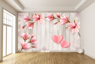 T9056 Wallpaper 3D Magnolias and hearts