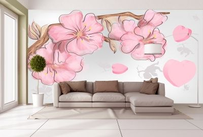 T9057 Wallpaper Pink flowers and herts