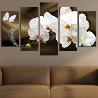 0750  Wall art decoration (set of 5 pieces) White orchids on brown background