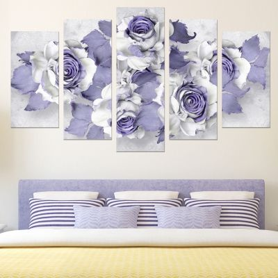 0751 Wall art decoration (set of 5 pieces) Abstract roses