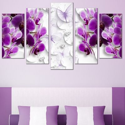 0752 Wall art decoration (set of 5 pieces) 3D Orchids, butterflies and diamonds