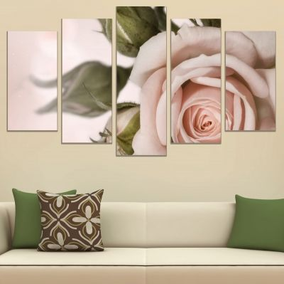 0754 Wall art decoration (set of 5 pieces) Delicate rose