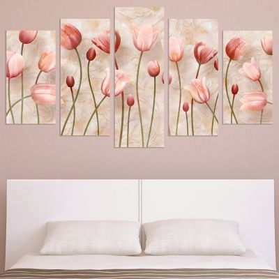 9002 Wall art decoration (set of 5 pieces) Delicate tulips