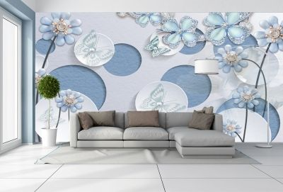 T9062 Wallpaper 3D Circles, flowers and jewelry
