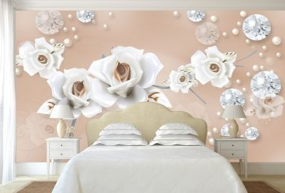 T9066 Wallpaper 3D Flowers and diamonds