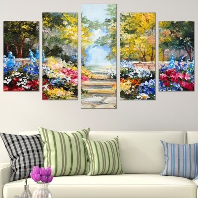 0755 Wall art decoration (set of 5 pieces) Colorful landscape