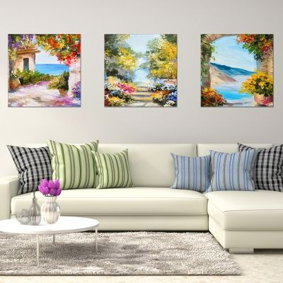 0756 Wall art decoration (set of 3 pieces) Colorful landscapes