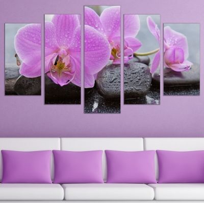 0758 Wall art decoration (set of 5 pieces) Zen composition with orchids and stones