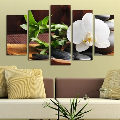 0117  Wall art decoration (set of 5 pieces) SPA - white orchid