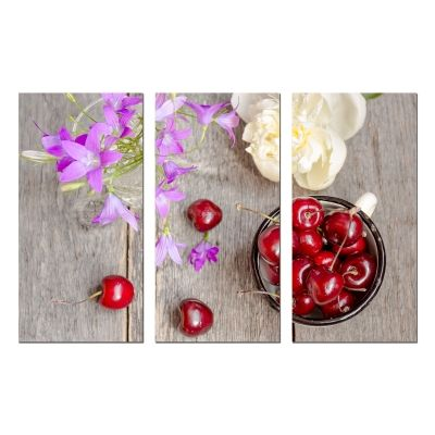 0759 Wall art decoration (set of 3 pieces) Composition with cherries