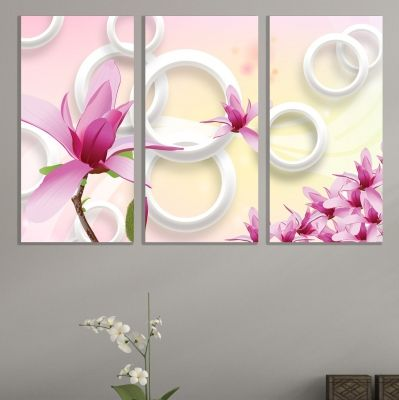 9070 Wall art decoration (set of 3 pieces) Magnolias and circles