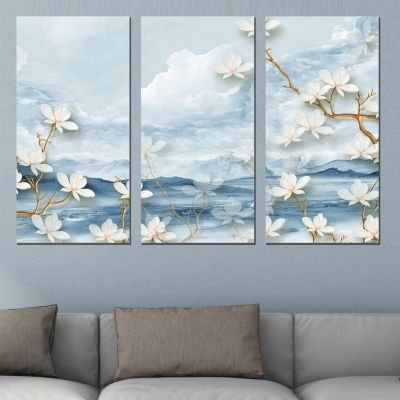 9024 Wall art decoration (set of 3 pieces) Abstract landscape and flowers