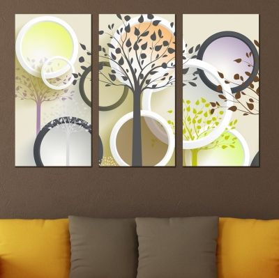 9024 Wall art decoration (set of 3 pieces) Abstract trees and circles