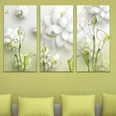9019 Wall art decoration (set of 3 pieces) Flowers - white and green