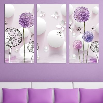 9022 Wall art decoration (set of 3 pieces) Dandelions - white and purple