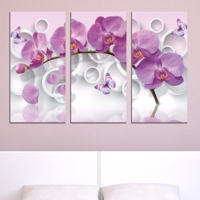 9013 Wall art decoration (set of 3 pieces) Purple orchids