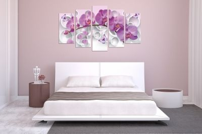 0750  Wall art decoration (set of 5 pieces) White orchids on brown background for bedroom