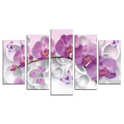 9013  Wall art decoration (set of 5 pieces) Purple orchids