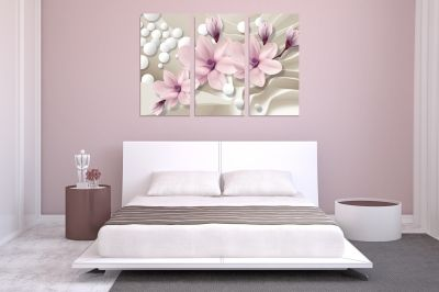 9026 Wall art decoration (set of 3 pieces) Magnolias and spheres