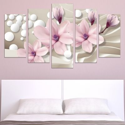 9026  Wall art decoration (set of 5 pieces) Magnolias and spheres