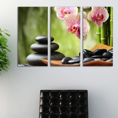 0120  Wall art decoration (set of 3 pieces) SPA stones and orchids