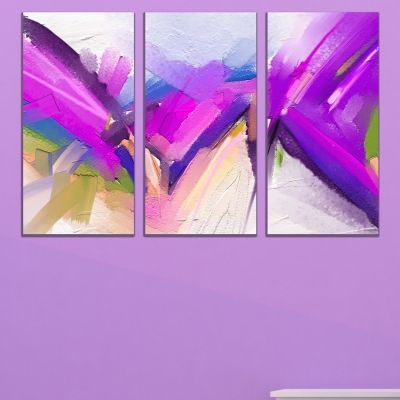0760 Wall art decoration (set of 3 pieces) Abstraction in purple