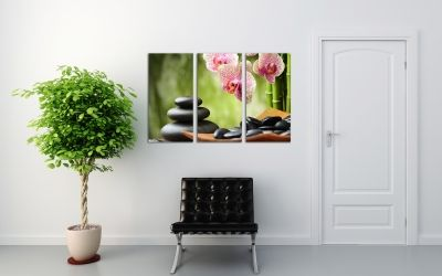 Wall art with orchids