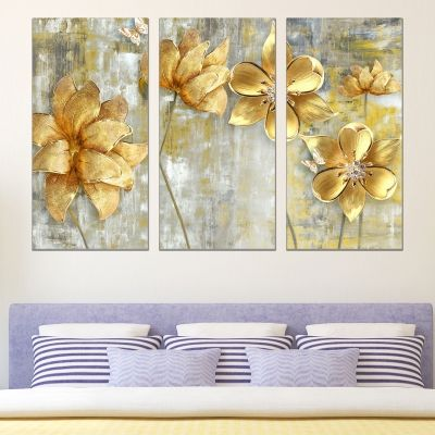 0764 Wall art decoration (set of 3 pieces) Abstract golden flowers