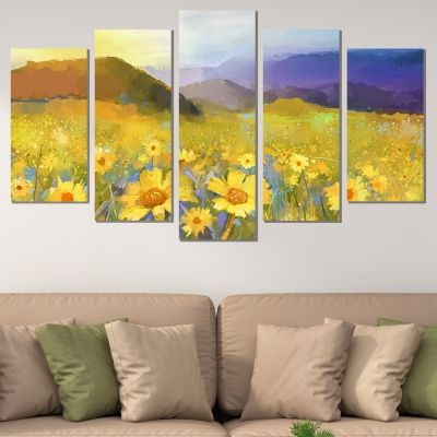 0765 Wall art decoration (set of 5 pieces) Sunflower field