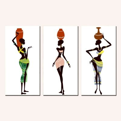 0195 Wall art decoration (set of 3 pieces) African women