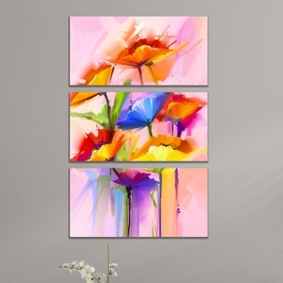 0768 Wall art decoration (set of 3 pieces) Abstract flowers